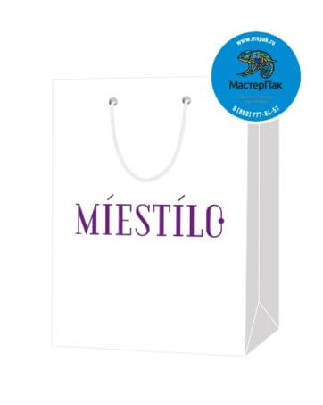 Пакет подарочный, бумажный, 11*15, 200 гр.,с люверсами, ручка шнур, с логотипом MIESTILO, Санкт-Петербург